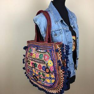 Boho embroidered beaded ethnic purse tassel fringe